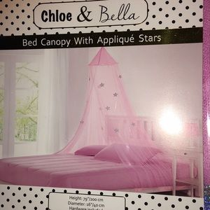 Draping Bed Canopy with appliqués stars-NEW